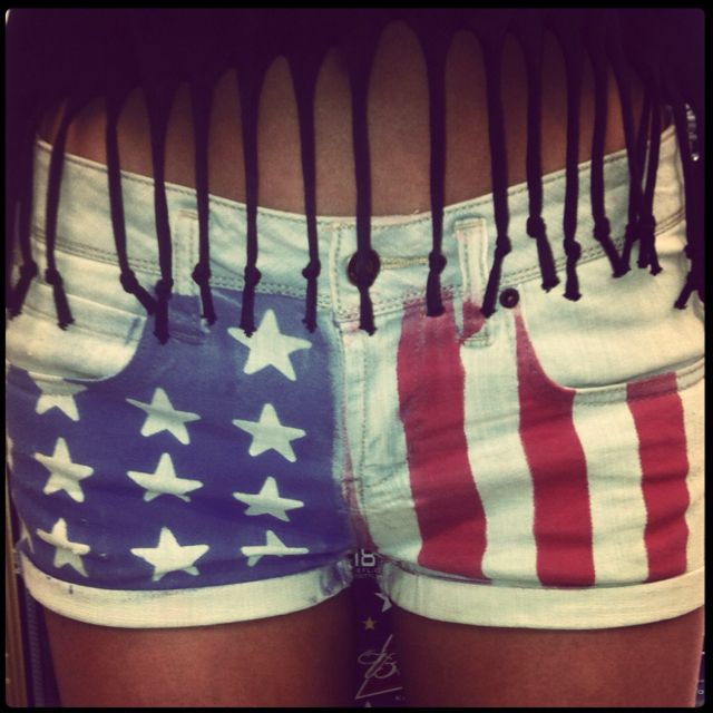 DIY American flag shorts! Place star stickers on one side and painters tape on the other. Then use Tulip fabric spray paint in sapphire and scarlet. Let it dry then peel off painters tape and sticker! Ps- make sure to put a piece of cardboard in shorts so the dye doesn't bleed through.
