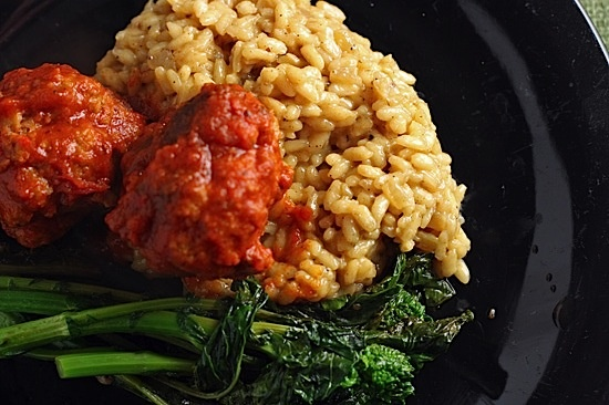 Spicy Pork Meatballs with Parmesan Risotto | Recipe