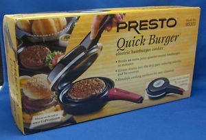 presto quick burger electric hamburger cooker non stick. Black Bedroom Furniture Sets. Home Design Ideas