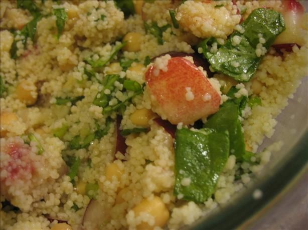 Nectarine and Chickpea Couscous Salad With Honey Cumin Dressing. Photo ...