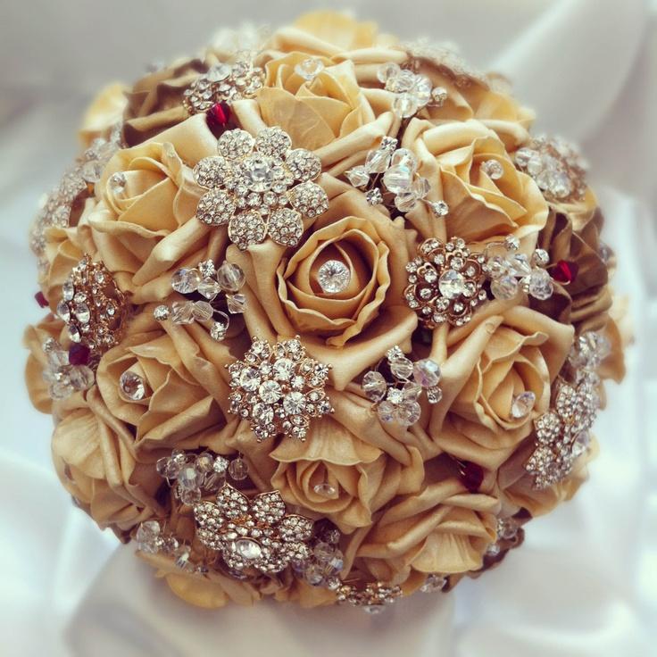 Golden Bridal Bouquet : Golden rose bouquet vintage jewelled bridal bouquets