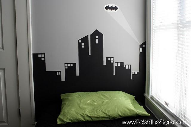 Gotham city wall mural batman bedroom pinterest for Batman cityscape wall mural