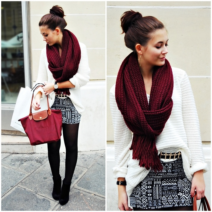 Gorgeous Dark Red Scarf And White Sweater