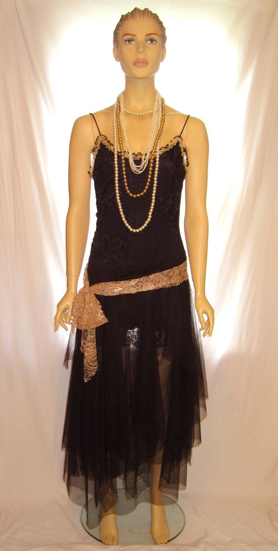 Black Tulle And Lace Thin Strap Great Gatsby Dress Costume