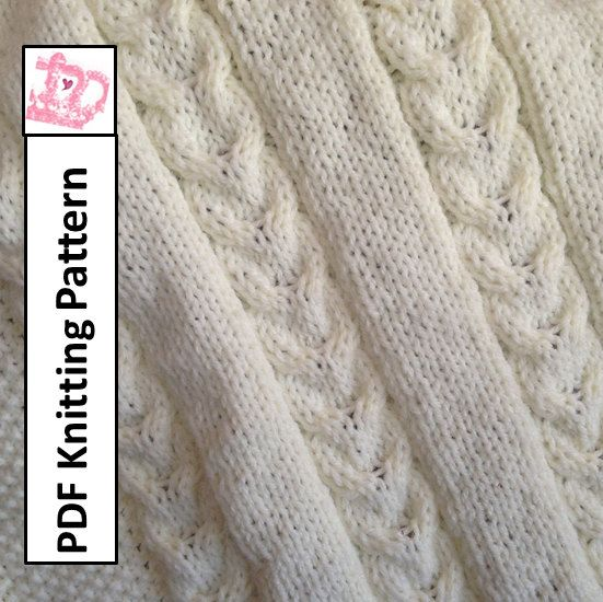 Double Knitting Pattern For Baby Blanket : PDF Knitting Pattern - Double Cable Baby Blanket, throw ...