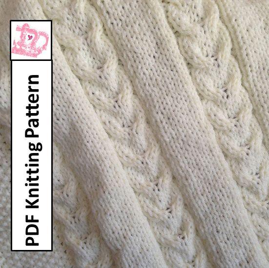 Double Knit Baby Blanket Pattern : PDF Knitting Pattern - Double Cable Baby Blanket, throw, afghan 28 x