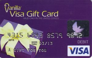 how to use a vanilla visa debit gift card