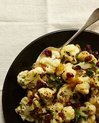 Grilled Cauliflower Salad with Raisin-Almond Dressing Recipe on Food ...