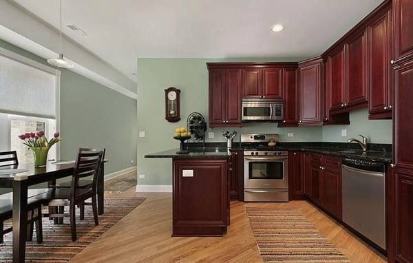 trying to find a kitchen color. our countertops/cabinets are dark like this