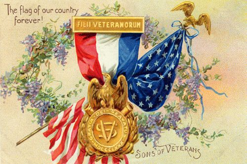 "Beautiful vintage patriotic postcard with the United States flag behind the Sons of Veterans emblem, surrounded by a wreath of laurel and the words, ""The flag of our country forever!"" It is beautiful statement of pride in America."
