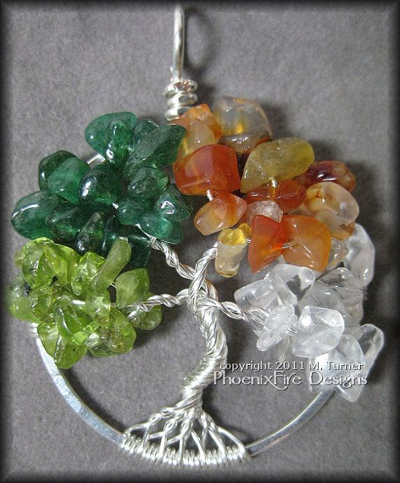 Wheel Of The Year - A Four Seasons Tree of Life Pendant (Spring Summer Autumn Winter) $60