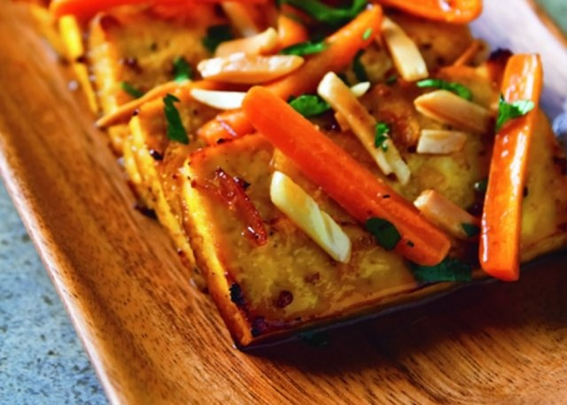 Citrus-roasted tofu... I might trade out the marmalade for some OJ and ...