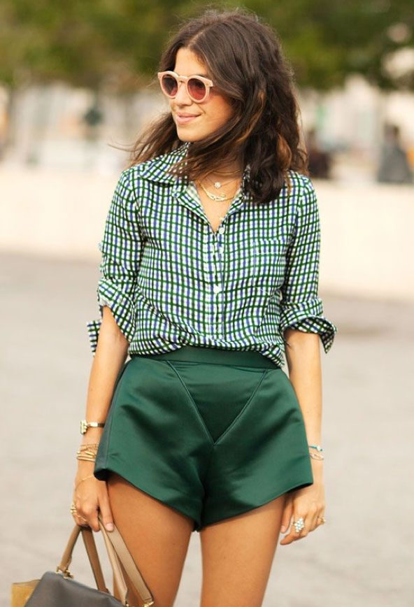 shorts, satin, evergreen, blouse, buttoned up, rolled sleeves, spring, pink sunglasses repin.