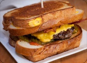 """Fatty Melt"""" - bacon cheeseburger, tomato and pickle between 2 grilled ..."""