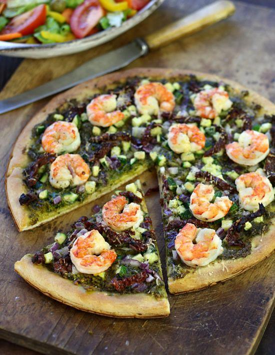Pesto Pizza with Shrimp, Zucchini & Sun-Dried Tomatoes