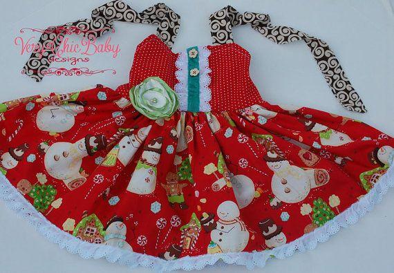 Christmas dress holiday custom twirl reverse knot by verychicbaby 55