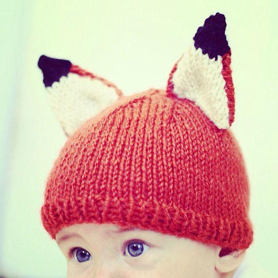 Knitting Pattern For Fox Hat : Baby Fox Hat Knitting Pattern PDF Instant download Kids Knit Hat