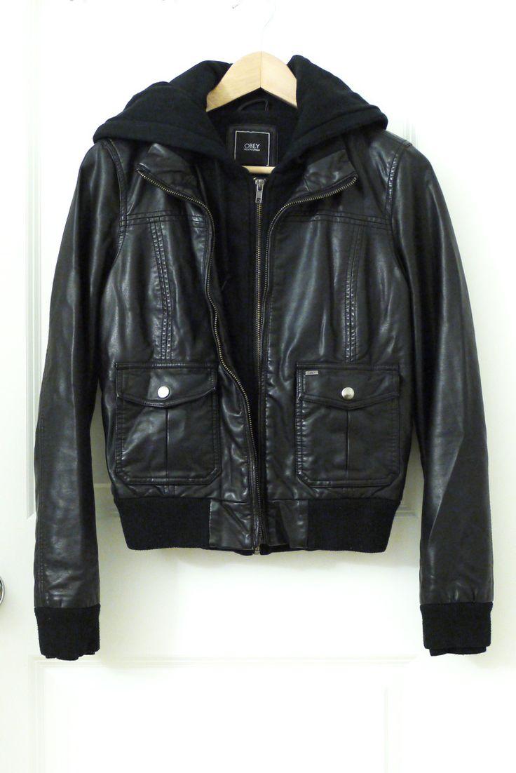 Obey Jealous Lover Hooded Bomber (faux leather jacket) #FlipPinWin