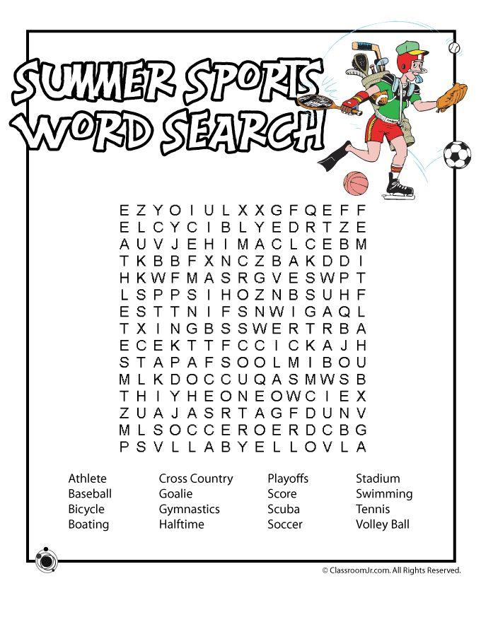 Summer sport word search | Printables | Pinterest