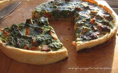 Tofu Quiche. Pie crust, milk, eggs, frozen spinach, tofu, tomatoes ...