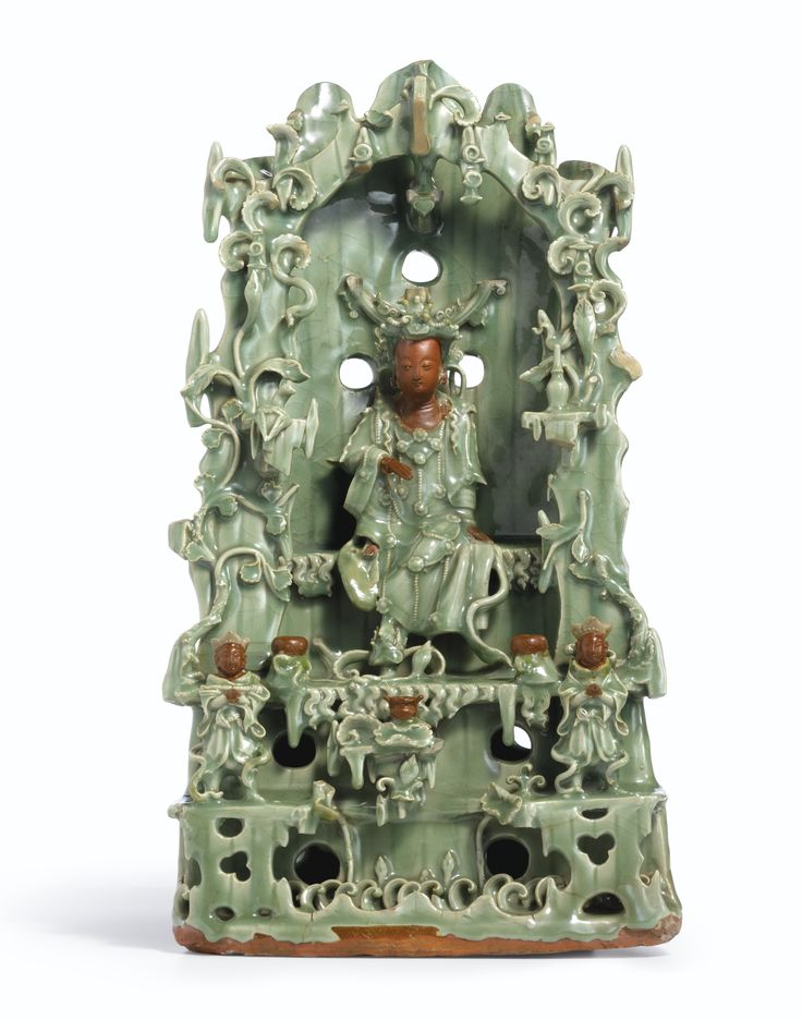 A Large And Rare Longquan Celadon Guanyin Shrine Ming