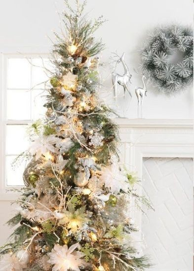 White natural christmas tree christmas trees pinterest for White and gold tree decorations