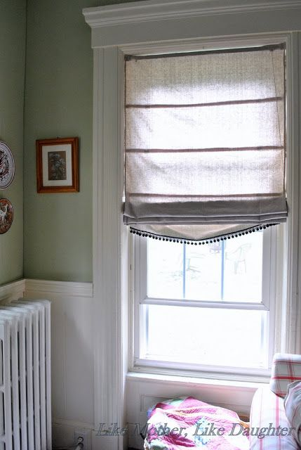 DIY Roman Blinds made with a cheap Venetian blind mechanism and drop