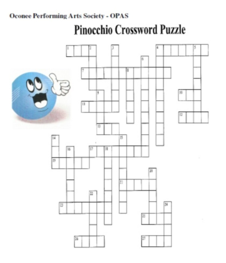 Honesty: Pinnochio Crossword Puzzle | Windsor Academy Character Educ ...