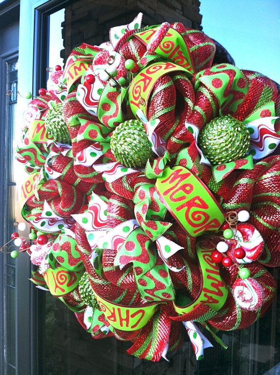 Deluxe Merry Christmas deco mesh Wreath by DzinerDoorz on Etsy