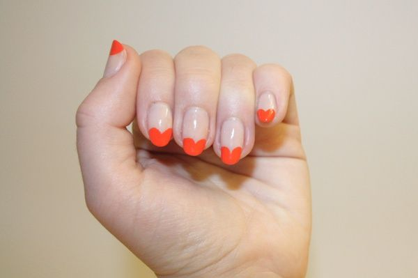 Nail Corner: 2 colourful ways to update the French manicure with purple chevrons and orange hearts