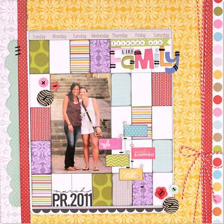 """""""Friends Are Like Family"""", by Stephanie Hunt {love the calendar patchwork} & """"Cousins"""", by Brook Stewart {really like how graphic it is} -- Bella Blvd, 3/19/12"""