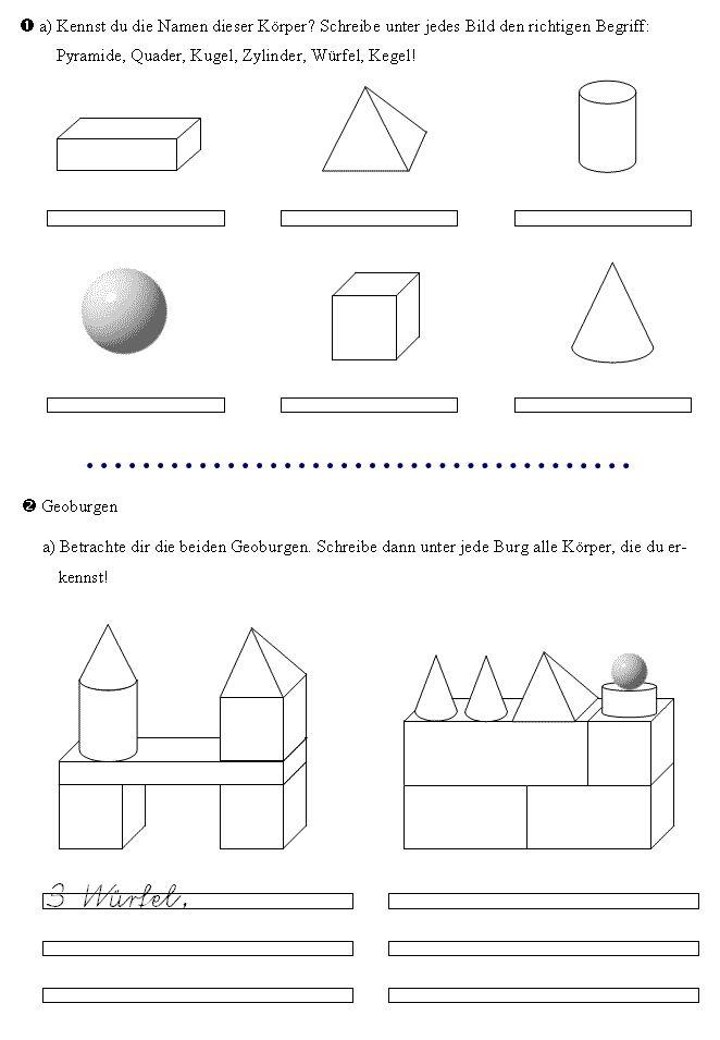 Geometrie  Arbeitsblätter und Unterrichtsmaterial für
