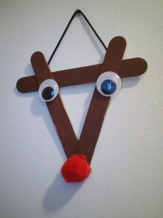 popsicle stick reindeer that micah made sunday school