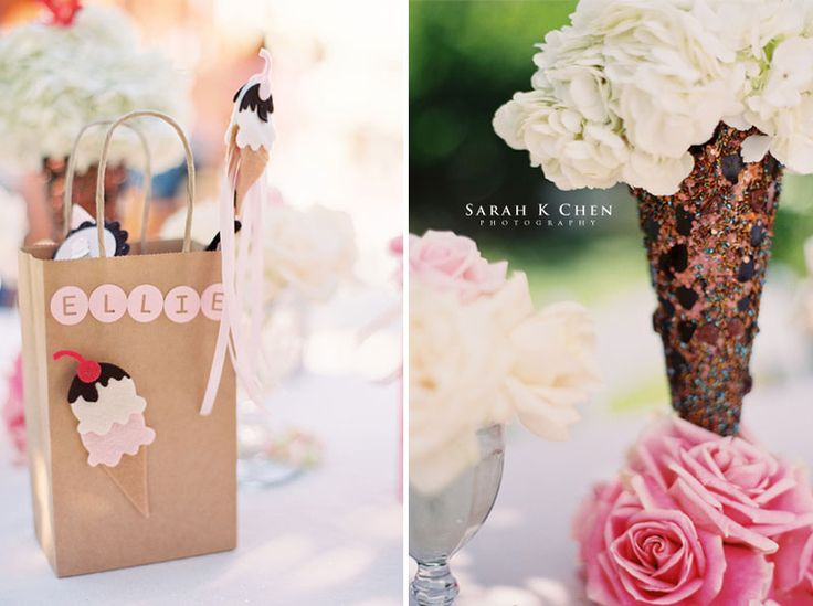 Florals for an ice cream party | Birthday Parties | Pinterest