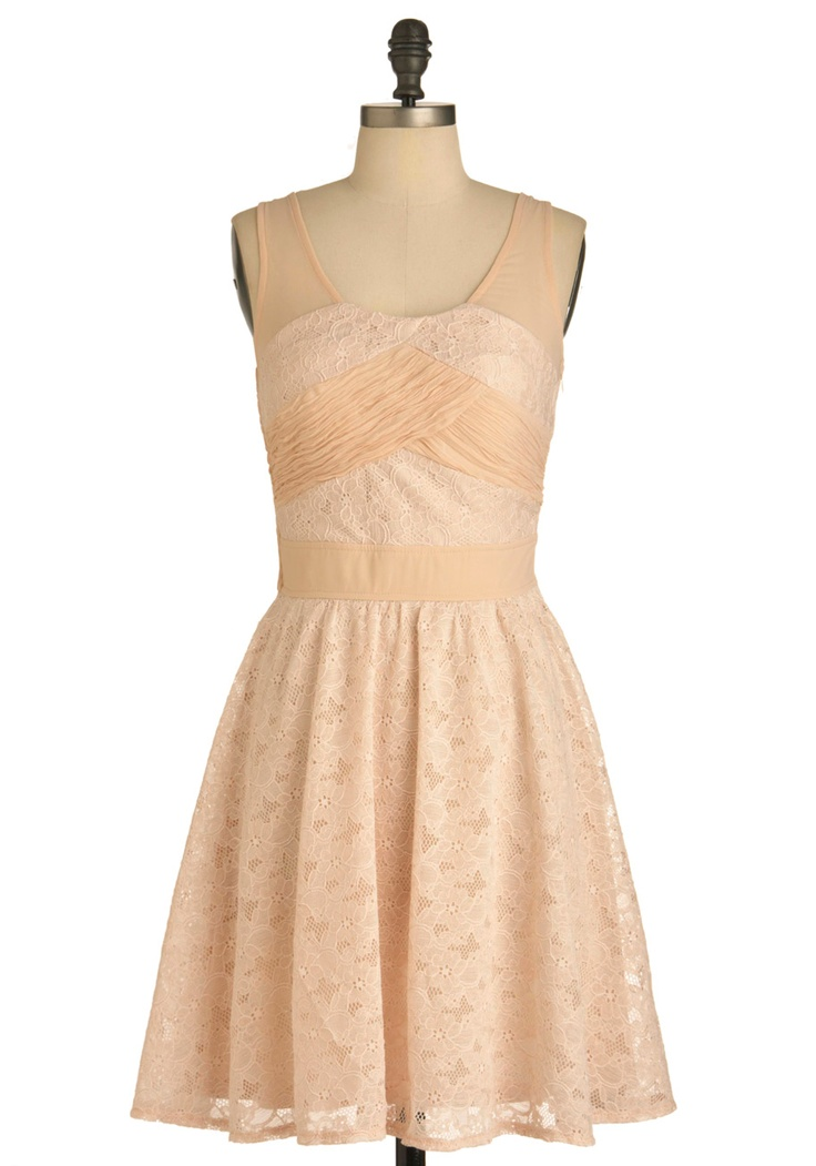 Pale Pink Posies Dress - Mid-length, Pink, Solid, Lace, Party, A-line, Tank top (2 thick straps)