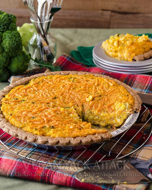 Vegan) Broccoli Cheddar Quiche, with tofu and squash, by Vegan Yack ...