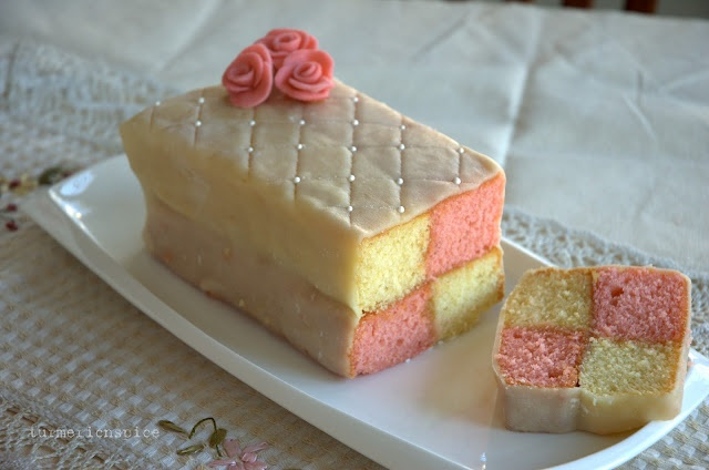 Battenburg cake. This is so pretty I had to pin it. I could never make ...