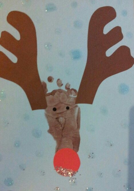 Reindeer Xmas card child's footprint | Pinterest - done! | Pinterest: pinterest.com/pin/494129390337236604