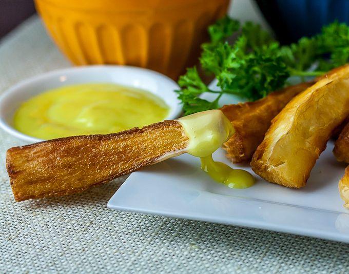 Yuka Frita with Aioli- Fried yuka with lemony aioli. A delicious and ...