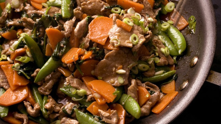 Five-Spice Pork Stir-Fry with Sweet Potatoes and Snap Peas Recipe