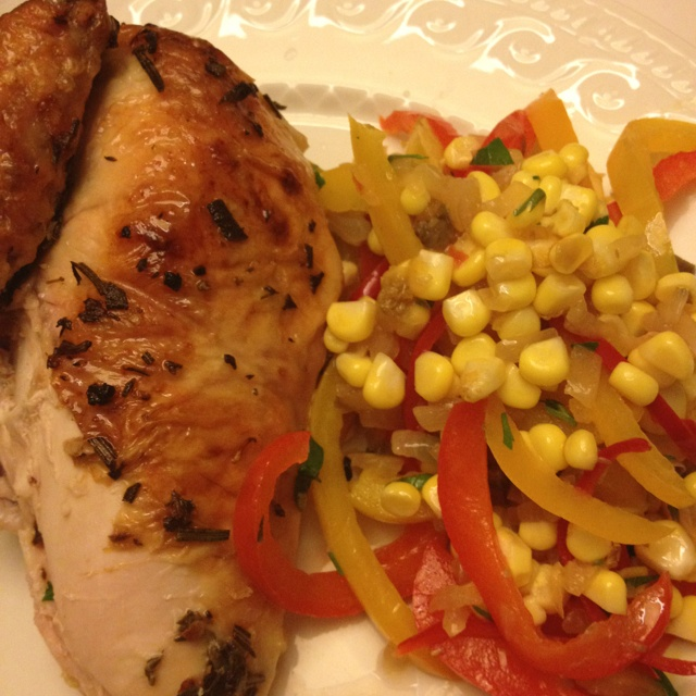 Roast chicken with salsa, pistachios, peppers and corn
