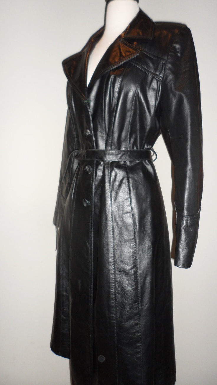 sexy cat woman appeal black leather trench coat vintage ...