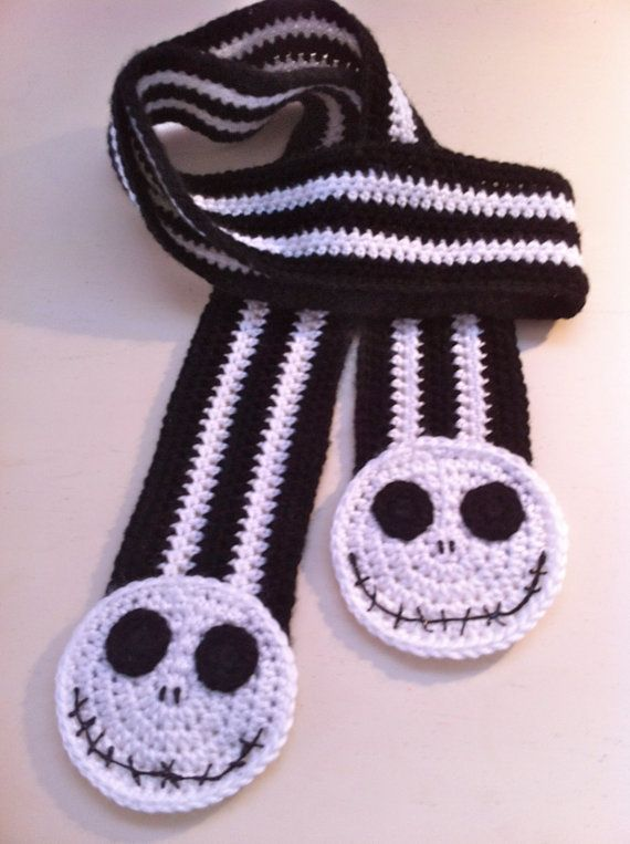 Crochet Jack Skellington : Jack Skellington Scarf, Jack the Pumpkin King Scarf, Nightmare Before ...