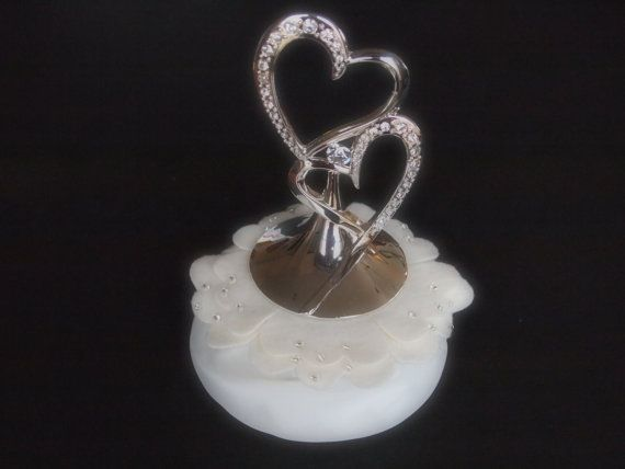 wedding cake topper silver hearts ivory