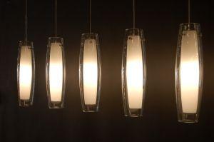 hanglamp 52685: modern, klassiek, glas, wit opaalglas, helder glas ...