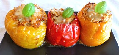 Crock Pot Turkey & Rice Stuffed Peppers... mix everything raw and ...