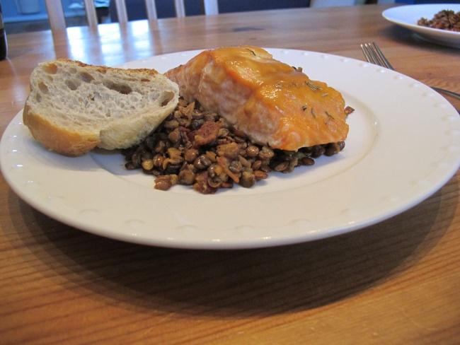 Honey-Mustard Salmon with Bacon Lentils | Food! | Pinterest
