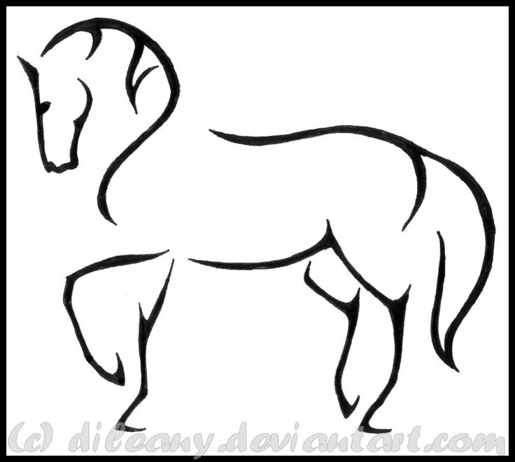 Line Drawing Horse : The gallery for gt easy horse drawings running
