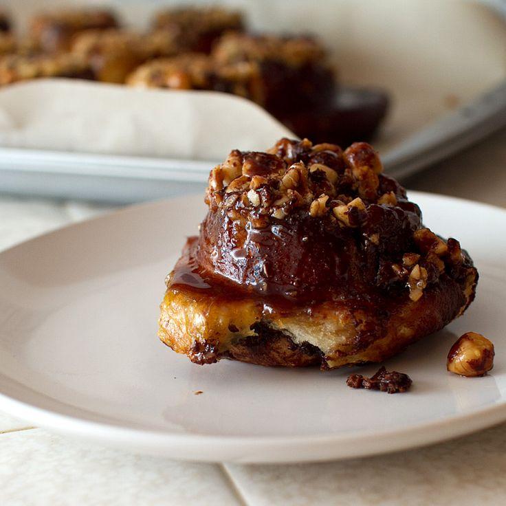pretzel sticky buns with nutella and hazelnuts; pretzely, chewy, sweet ...