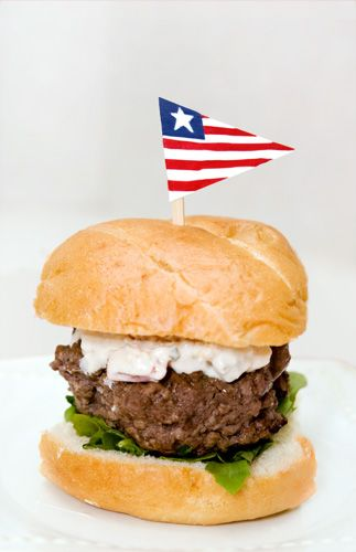 Red, White, and Blue Hamburger (Roasted Red Peppers, Horseradish, Blue ...